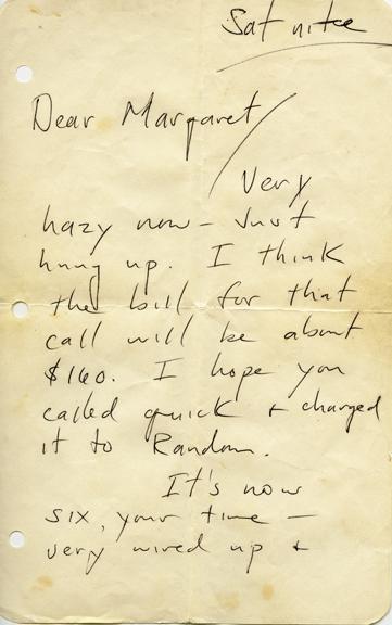 Margaret Harrell receives letter from Hunter S. Thompson