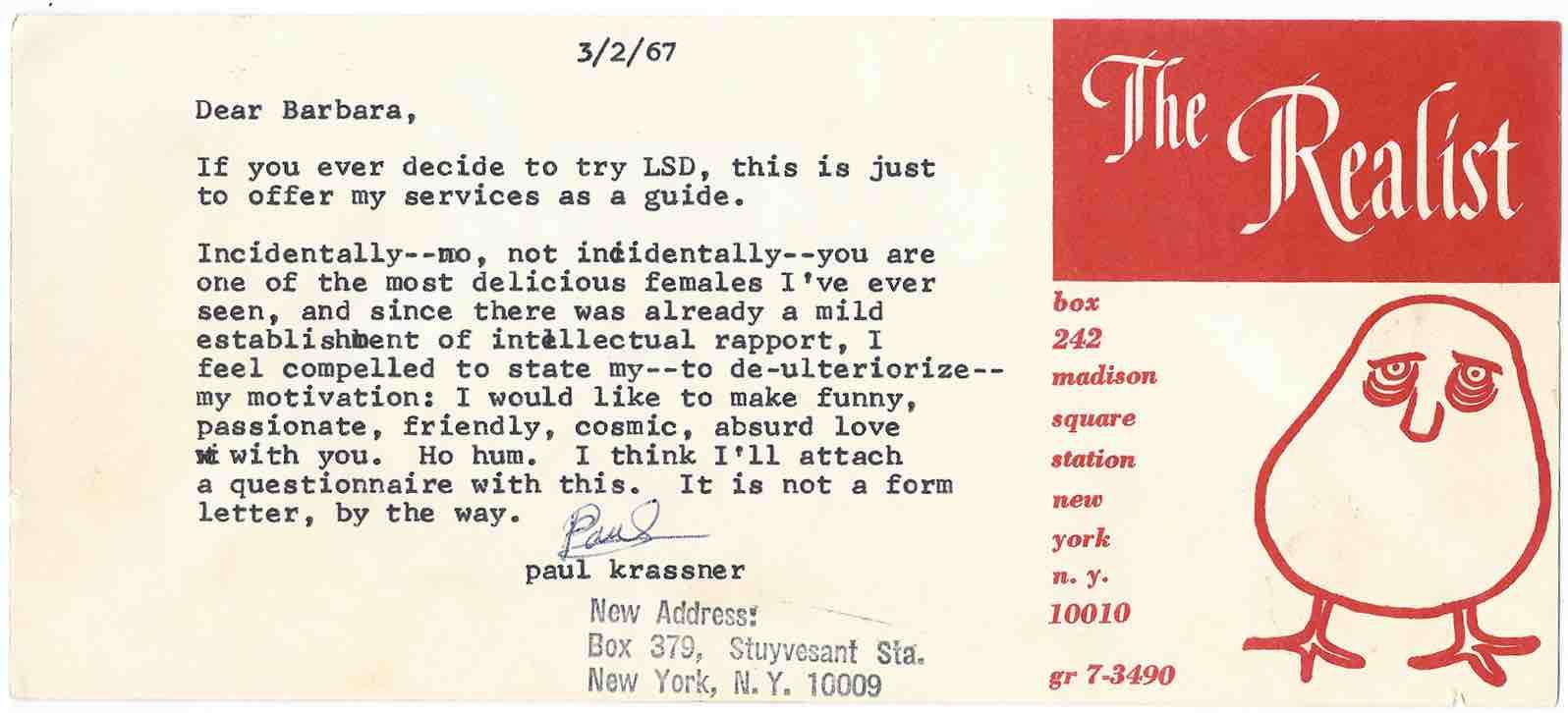 Paul Krassner letter - p 1-170